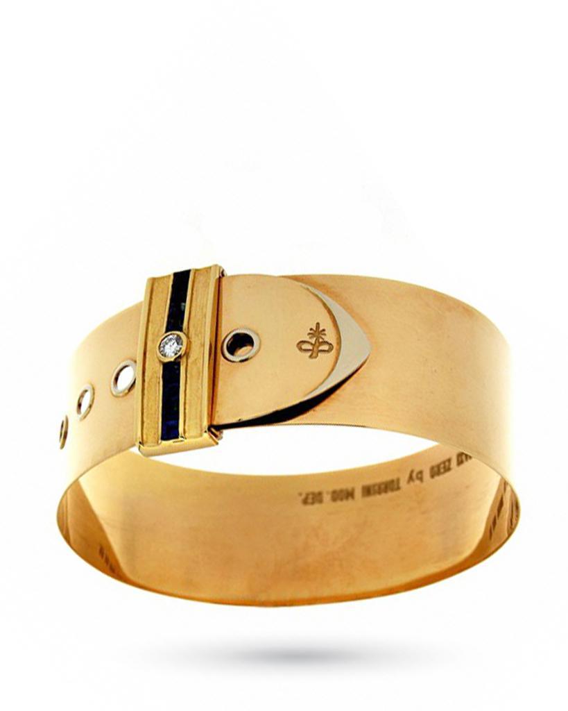 Bracciale rigido in oro giallo con fibbia di zaffiri e diamante - TORRINI
