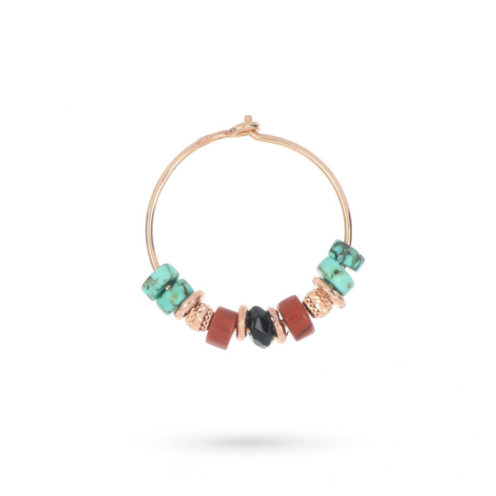 Orecchino a cerchio singolo con pietre colorate e argento rosa - MAMAN ET SOPHIE