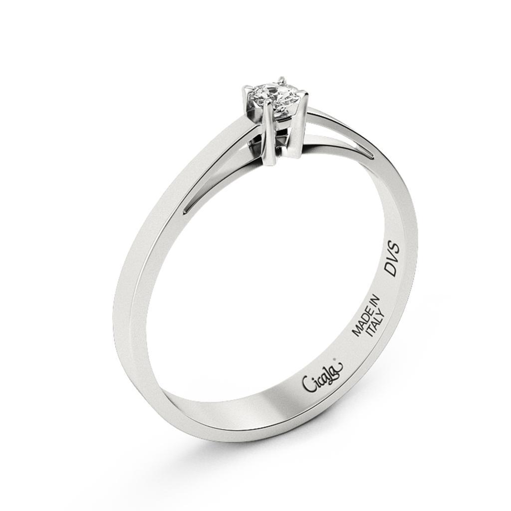 Anello di fidanzamento D Color con diamante 0,30ct D VS - CICALA