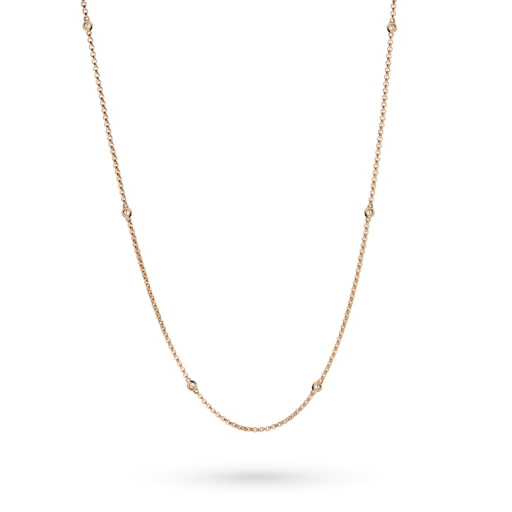 18kt rose gold necklace with 6 diamonds - CICALA