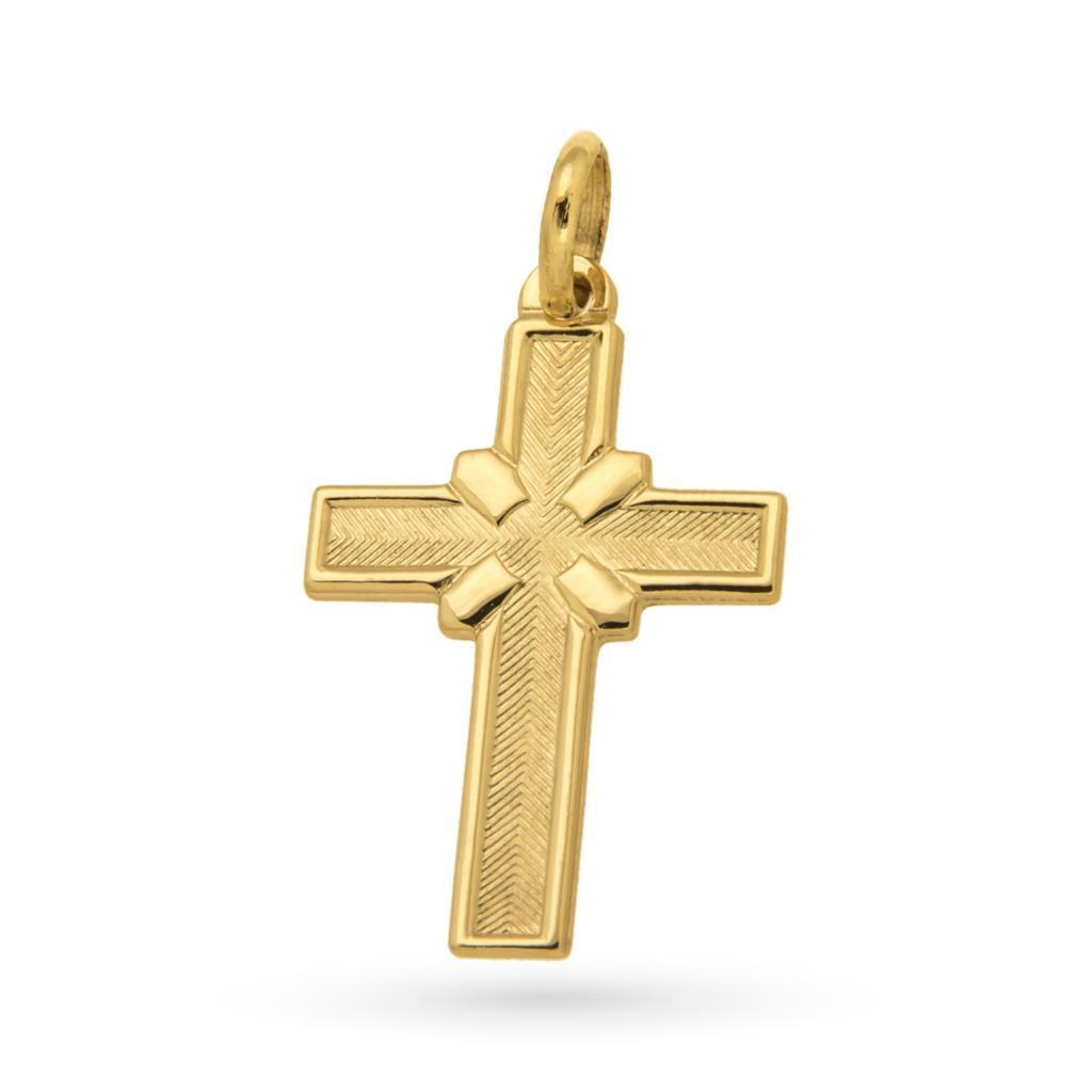 Croce in oro giallo 18kt lucido e satinato - CICALA