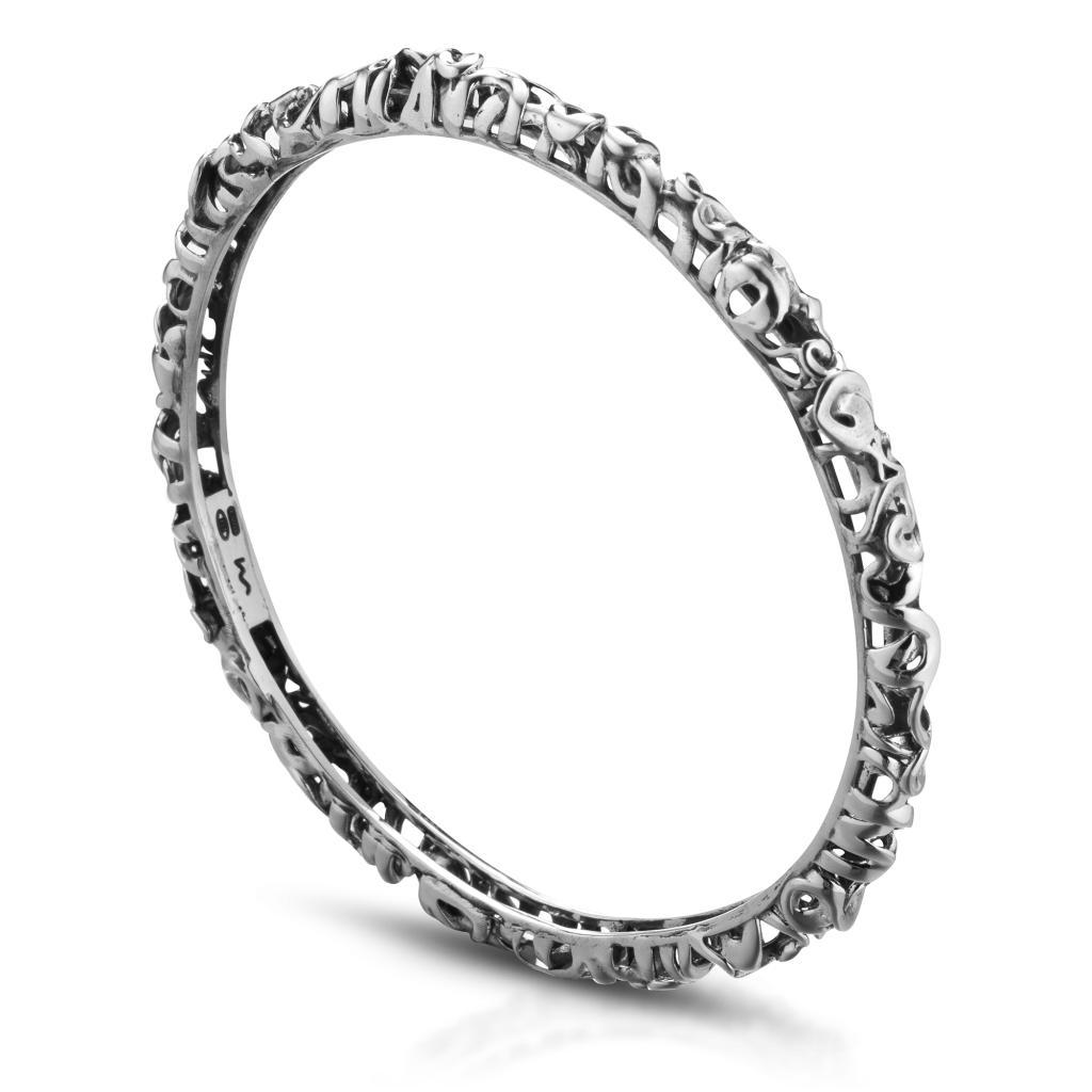 Bracciale rigido ricamato in argento 925 diametro 6,50cm - MARESCA OFFICINE ORAFE