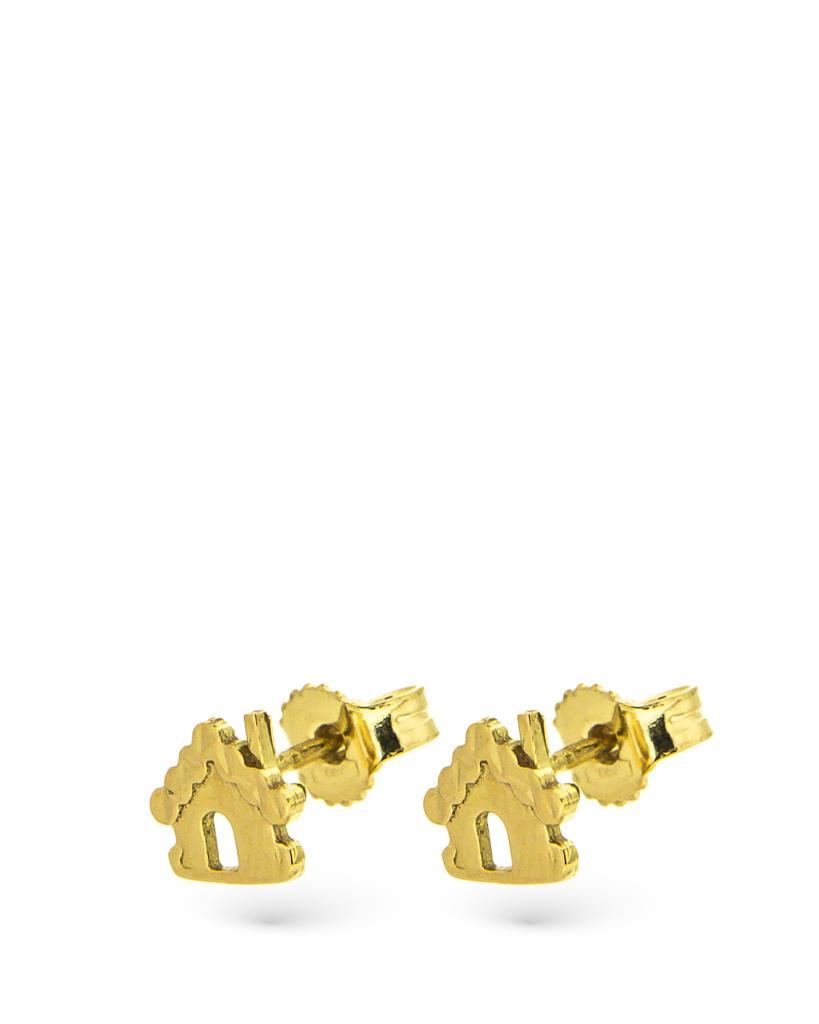 Orecchini a lobo in oro giallo con casetta diamantata - CICALA