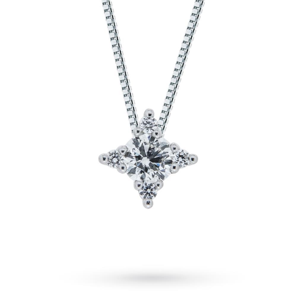 Girocollo in oro bianco con stellina di diamanti taglio brillante 0,12ct F VS - MIRCO VISCONTI