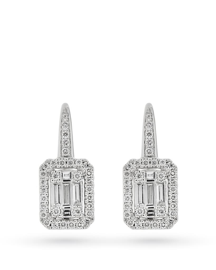 Orecchini rettangolari pendenti in oro bianco con diamanti - CICALA