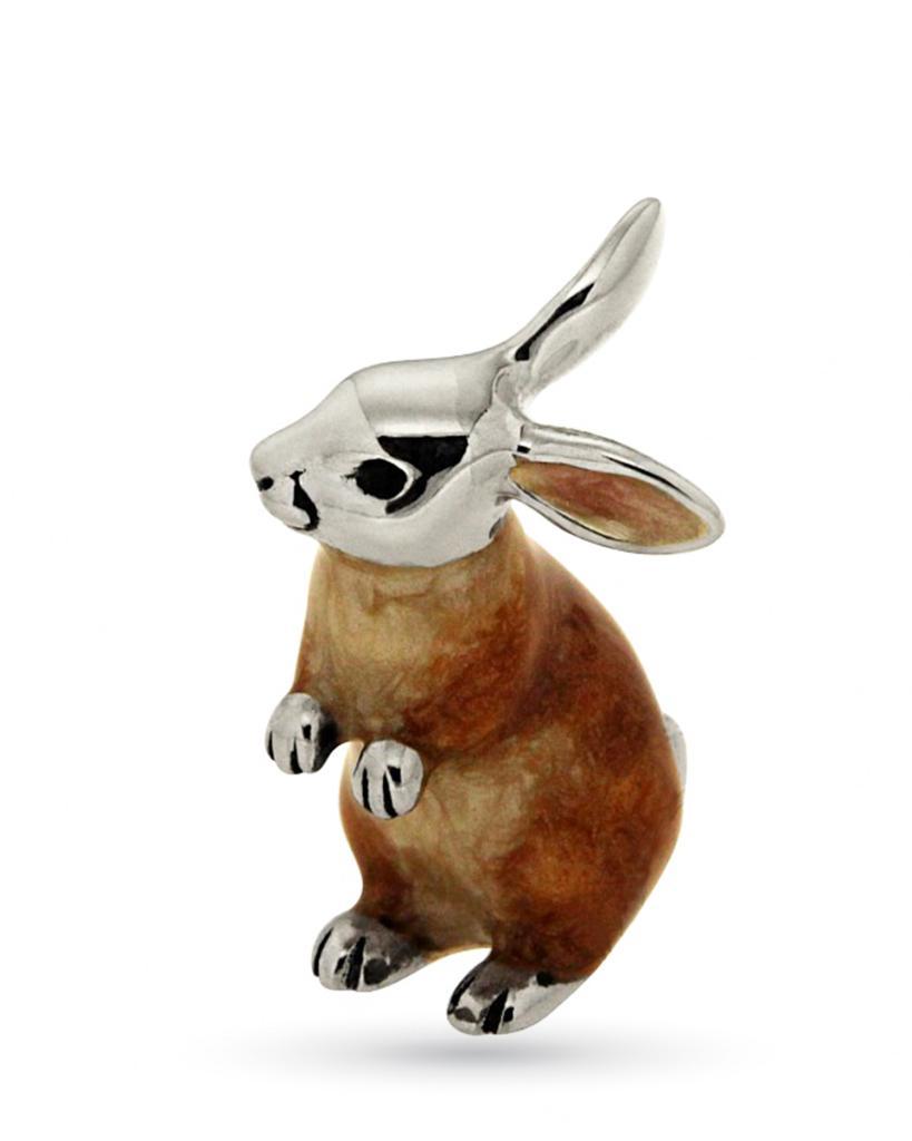 Coniglio medio in piedi soprammobile in argento e smalto  - SATURNO