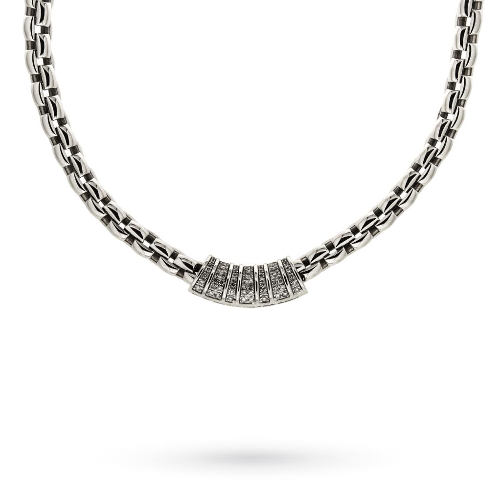 18kt white gold FOPE necklace cardano chain with diamonds pave 43cm - FOPE