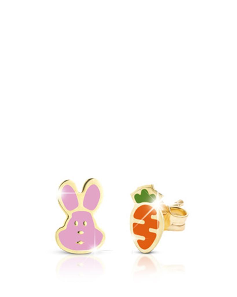 Orecchini leBebe PMG051 Primegioie in oro con carota e coniglietto smaltati - LE BEBE