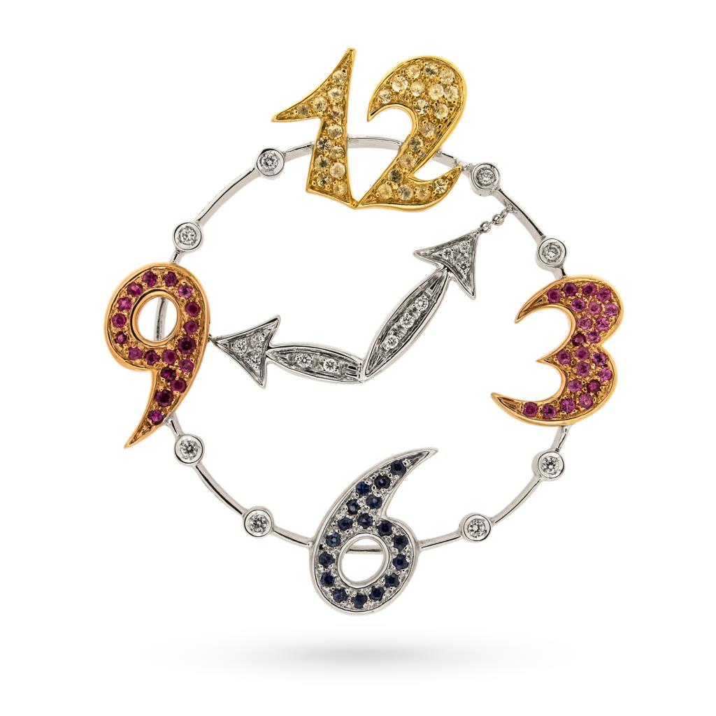 Ciondolo ad orologio in oro bianco con zaffiri e diamanti - LOCMAN
