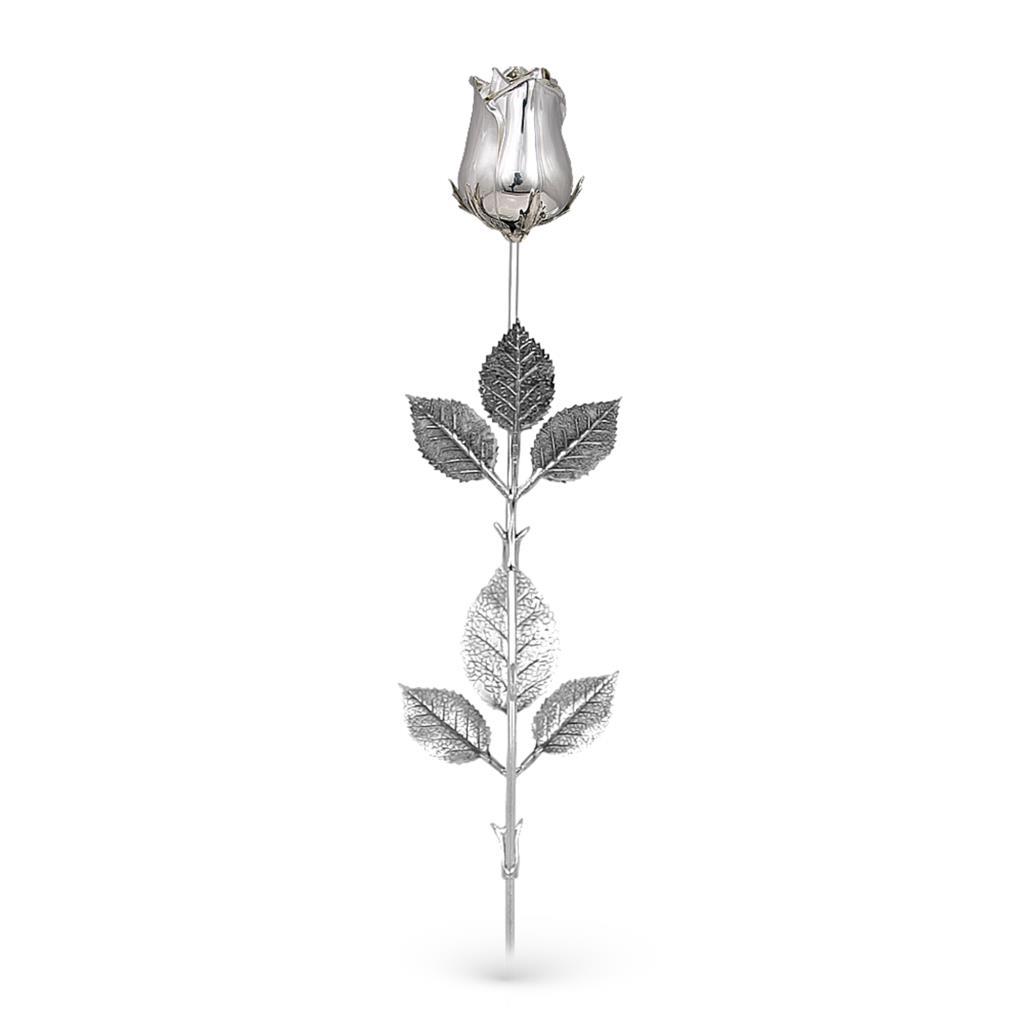 Rosa soprammobile in argento 925 lucido 47cm - GI.RO'ART