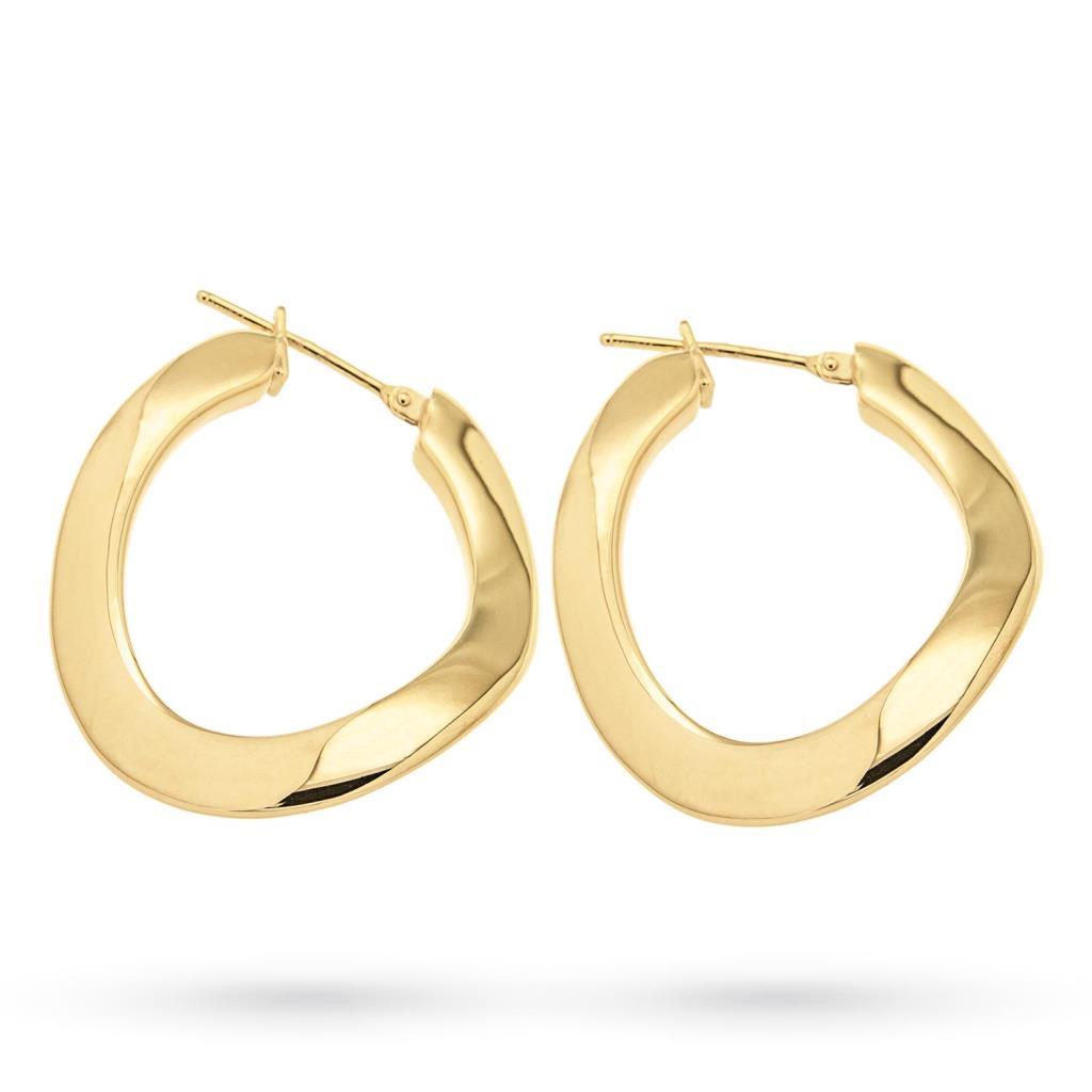 Orecchini cerchio ondulato oro giallo 18kt lucido - CICALA