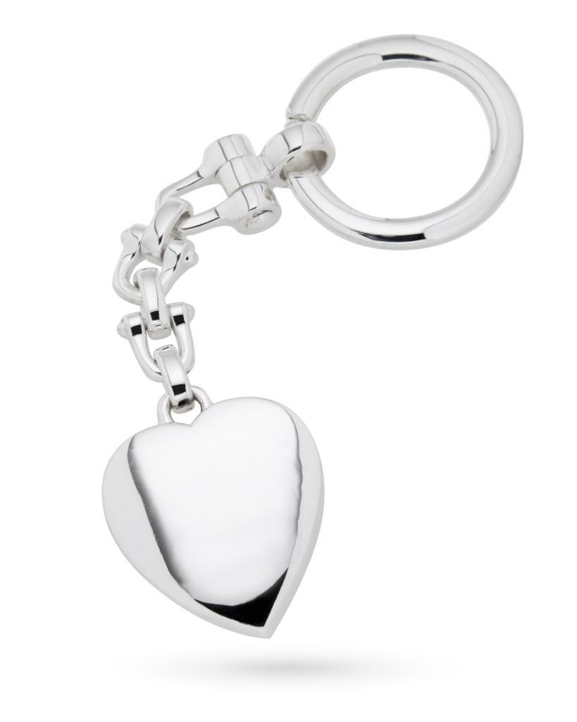Portachiavi in argento con grande cuore lucido - CICALA