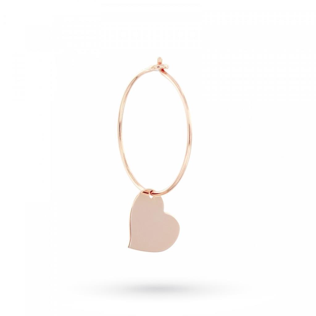 Orecchino a cerchio con cuore pendente in argento 925 placcato oro rosa - MAMAN ET SOPHIE