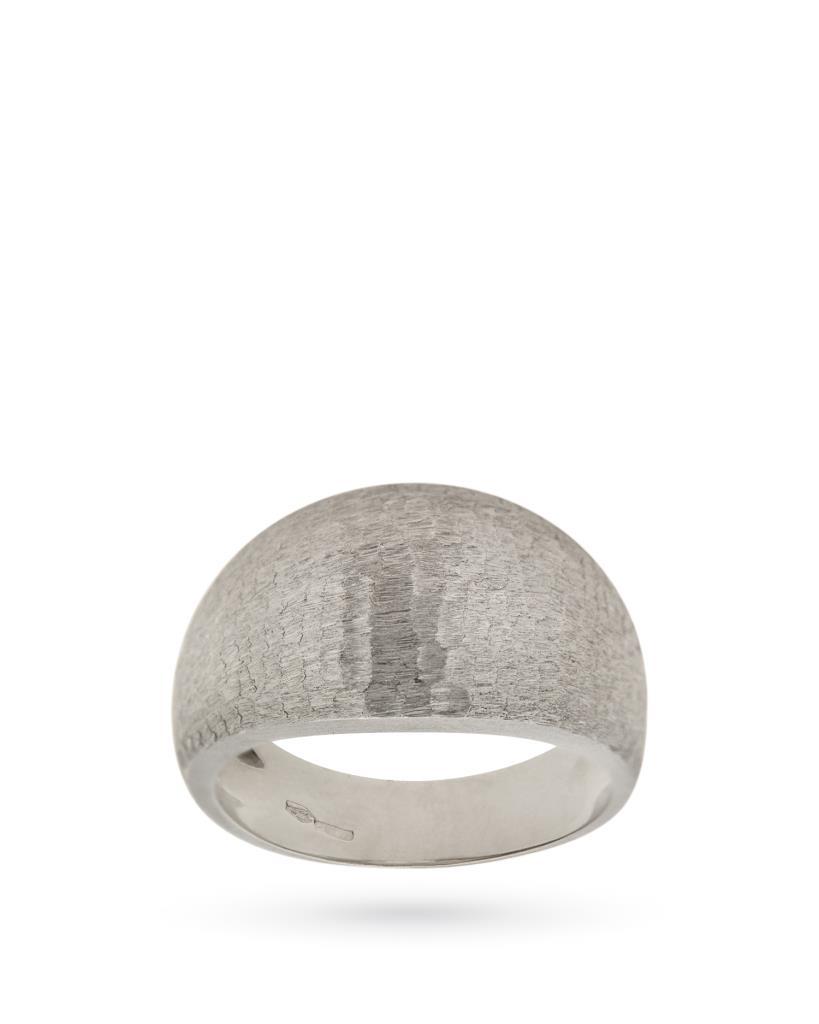 Anello in oro bianco 18kt a fascia con superficie satinata - UNBRANDED