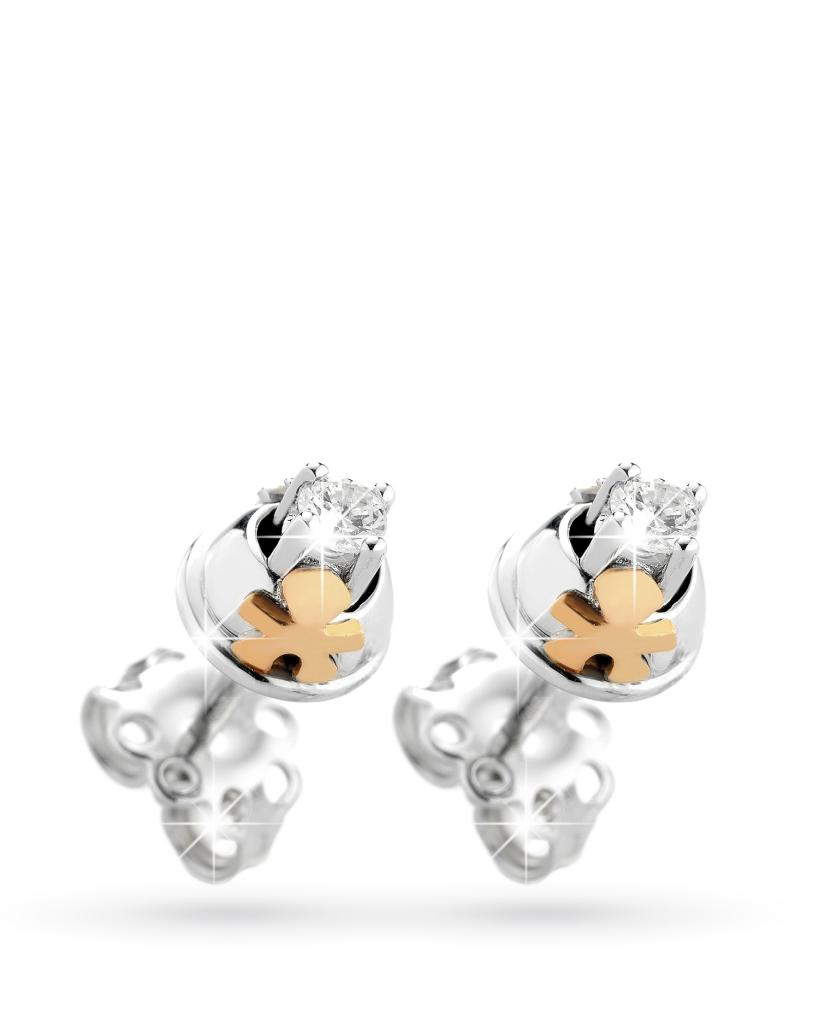 Orecchini Lebebe in oro bianco e rosa con bimbo e diamanti - LE BEBE