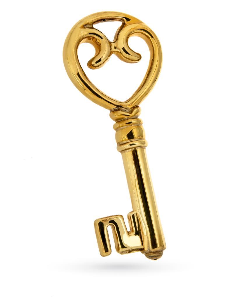 Ciondolo chiave grande in oro giallo 18kt elettroformato - UNBRANDED
