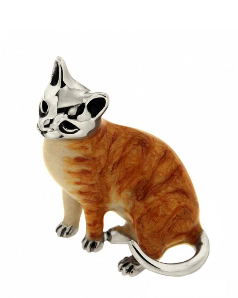 Gatto rosso sopramobile in argento e smalto  - SATURNO