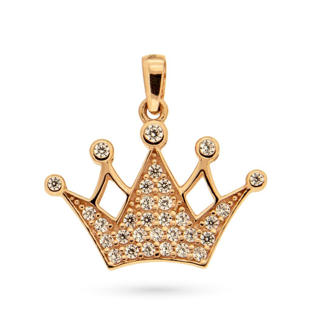 Ciondolo corona in oro rosa 18kt e zirconi - CICALA