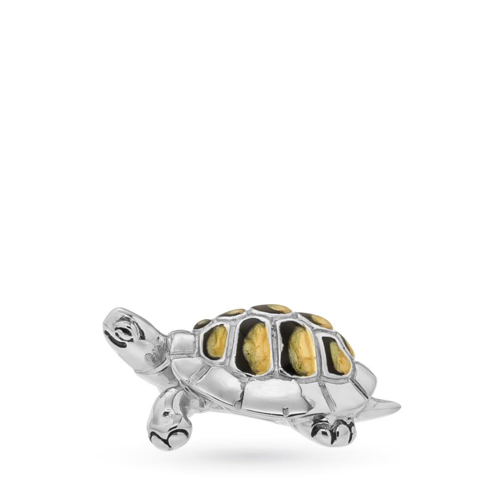 Tartaruga piccola soprammobile in argento e smalto - SATURNO