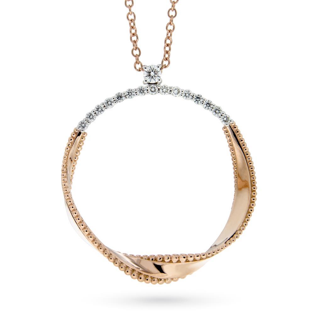 Girocollo con pendente cerchio ondulato in oro rosa e diamanti - ORO TREND