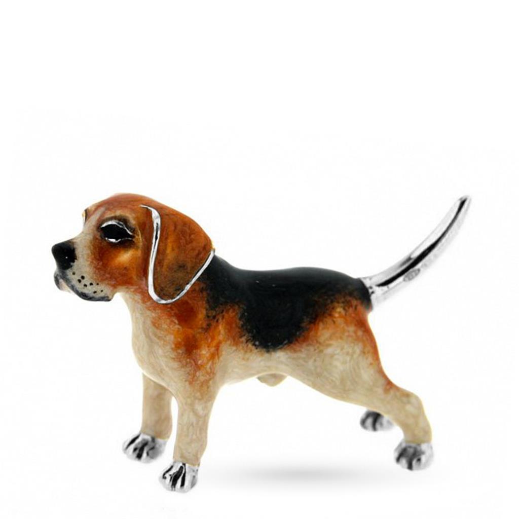 Beagle adulto soprammobile argento e smalto - SATURNO