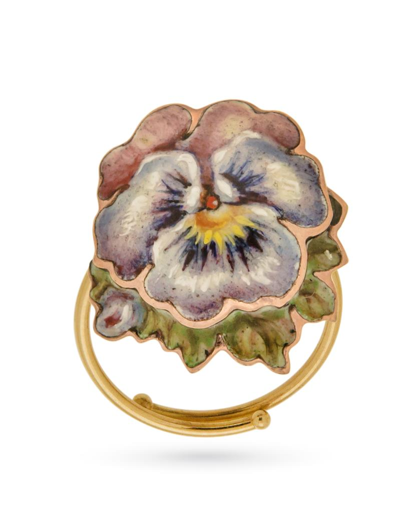 18kt yellow gold and copper ring with Pansy - GABRIELLA RIVALTA