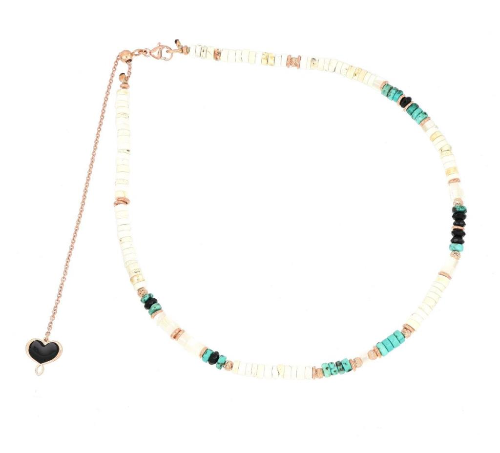 Necklace in white aulite and pink silver - MAMAN ET SOPHIE
