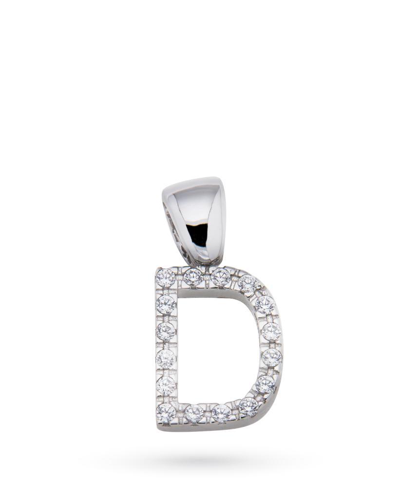 Ciondolo in oro bianco con lettera D e zirconi bianchi - UNBRANDED