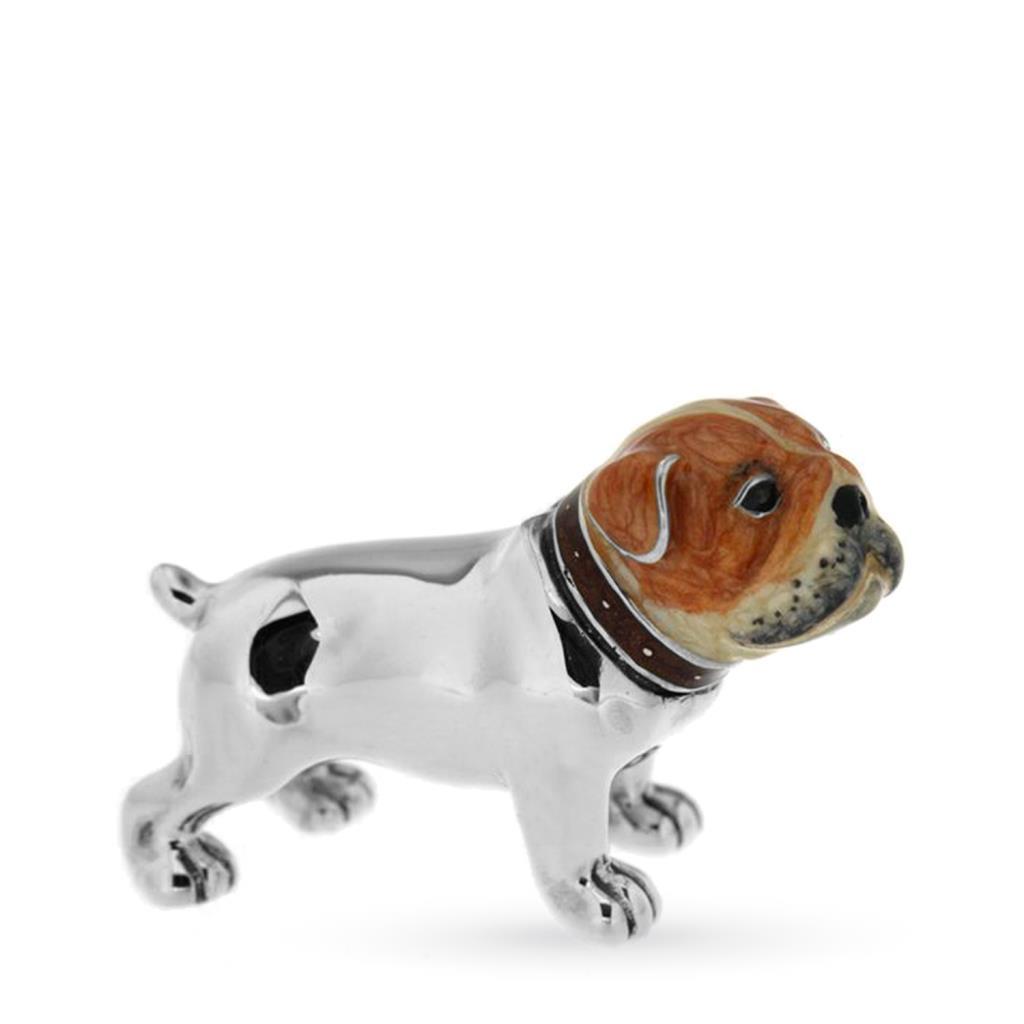 Cane bulldog piccolo soprammobile in argento e smalto - SATURNO