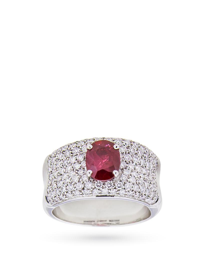 Anello in oro bianco con rubino 1,13ct e diamanti 1,03ct G VS - CICALA