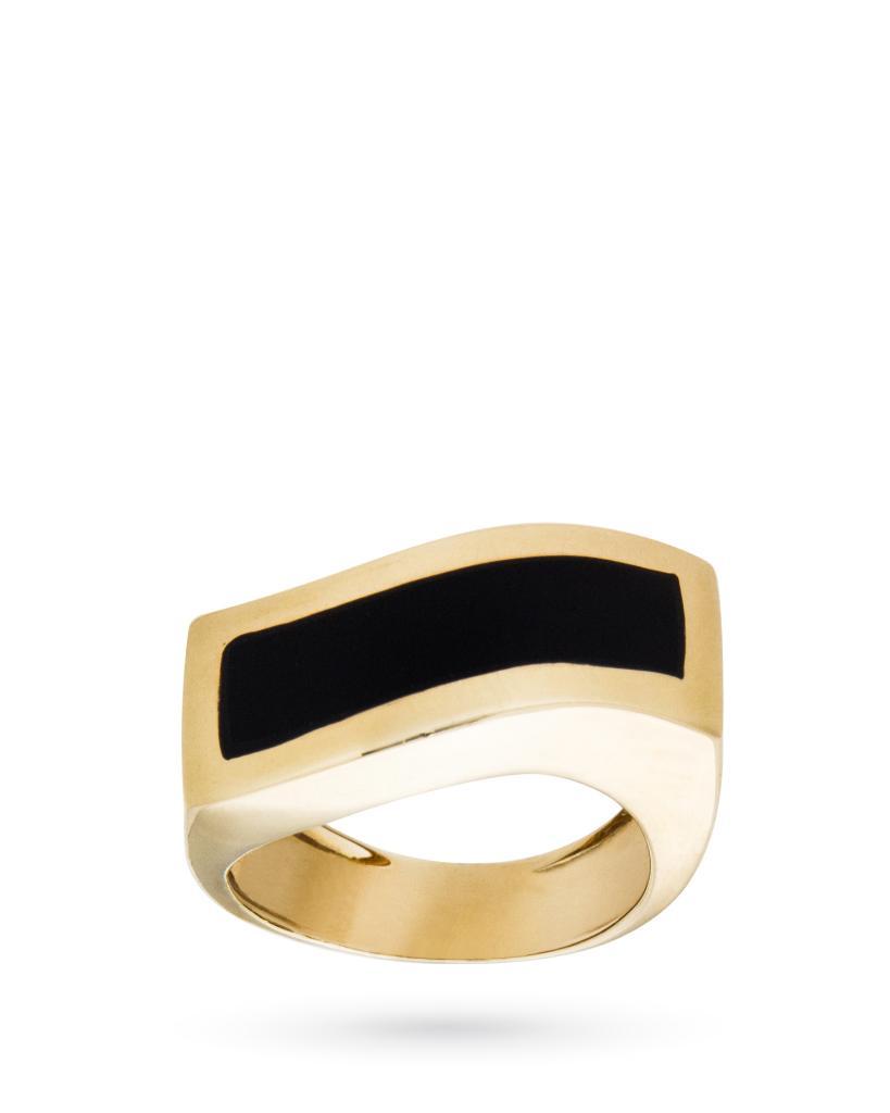 Anello in oro giallo 18kt squadrato con grande pietra nera - UNBRANDED