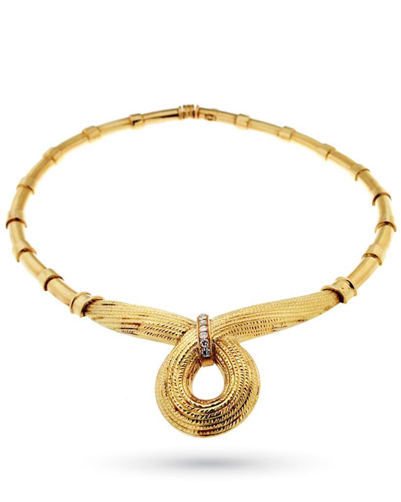 Neptune rigid necklace in yellow gold with diamonds - TORRINI