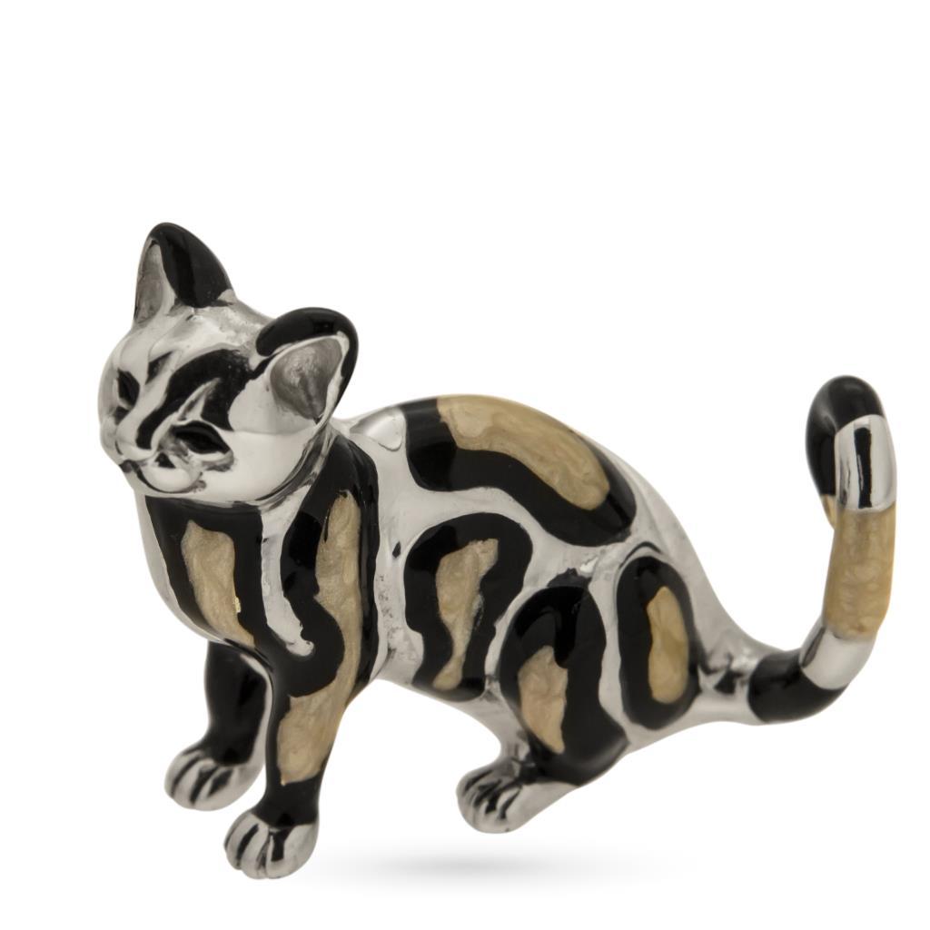 Gattino tigrato soprammobile in argento e smalto - SATURNO
