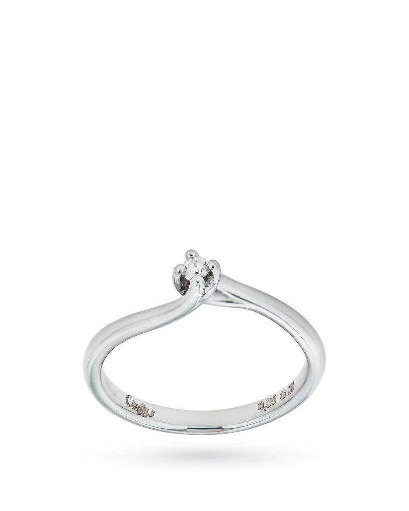 Anello solitario contrariè in oro con diamante 0,05ct G SI - CICALA