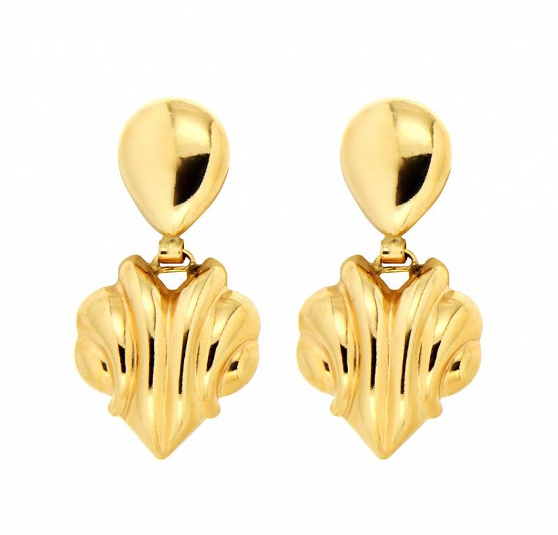 Orecchini pendenti a lastre piegate in oro giallo 18kt - UNBRANDED