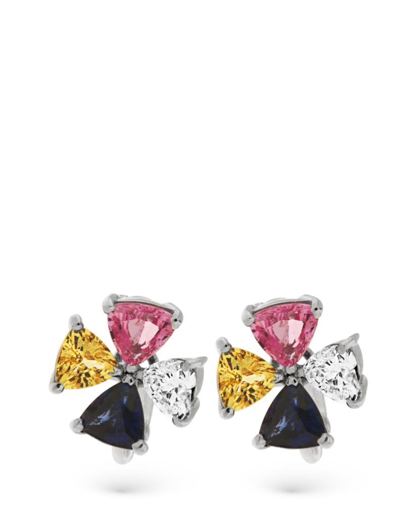Orecchini in oro con fiore di diamanti e zaffiri - CICALA