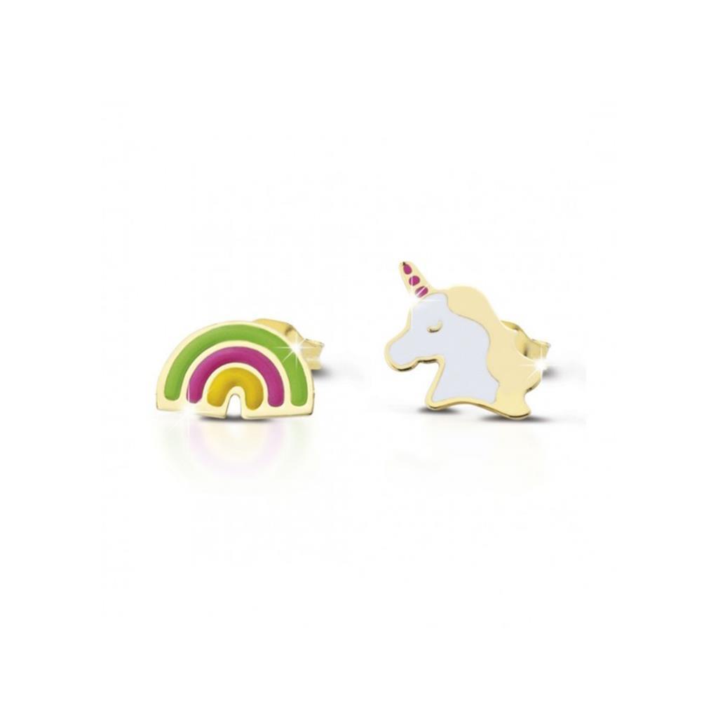Orecchini LeBebè PMG058 Primegioie oro giallo unicorno e arcobaleno  - LE BEBE