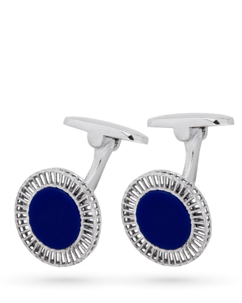 Gemelli in argento rotondi con smalto blu e finitura lucida - CICALA