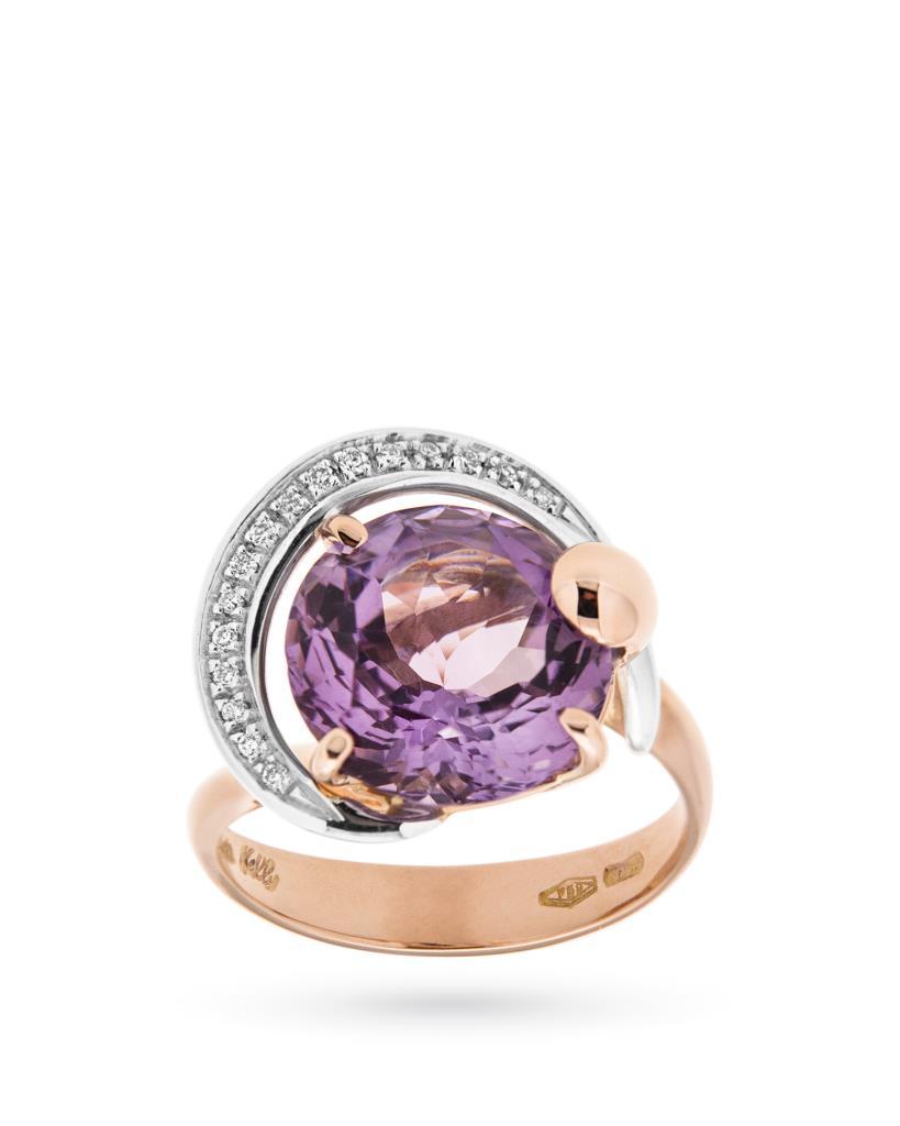 Anello in oro rosa con ametista lilla e diamanti - SILVIA KELLY