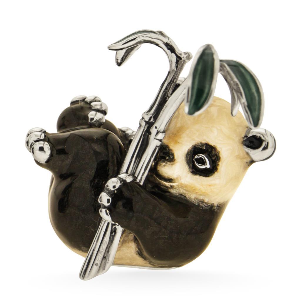Panda piccolo seduto sopramamobile in argento e smalto - SATURNO