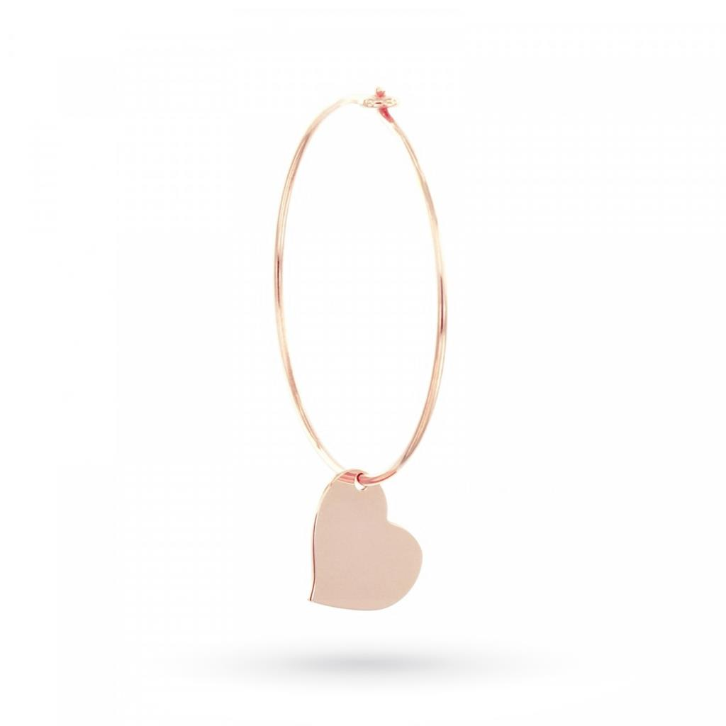 Hoop earring with pendant heart in rose gold plated silver - MAMAN ET SOPHIE