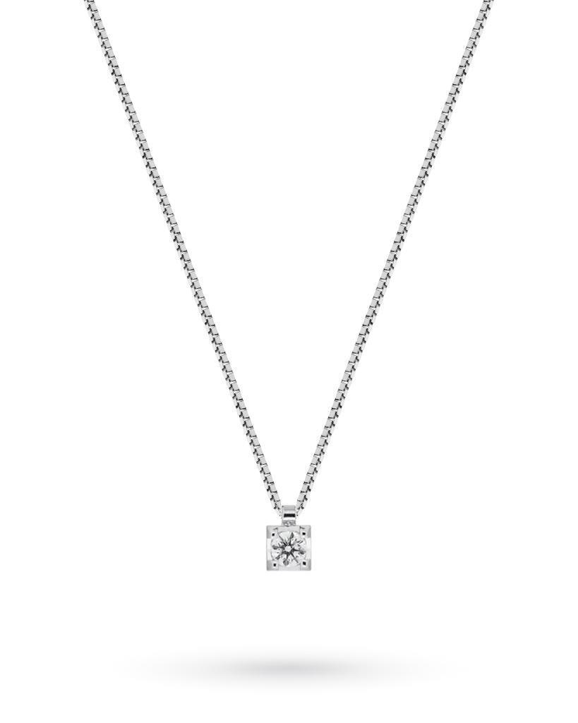18kt white gold necklace with pendant of brilliant cut diamond ct 0,03 G VS - MIRCO VISCONTI