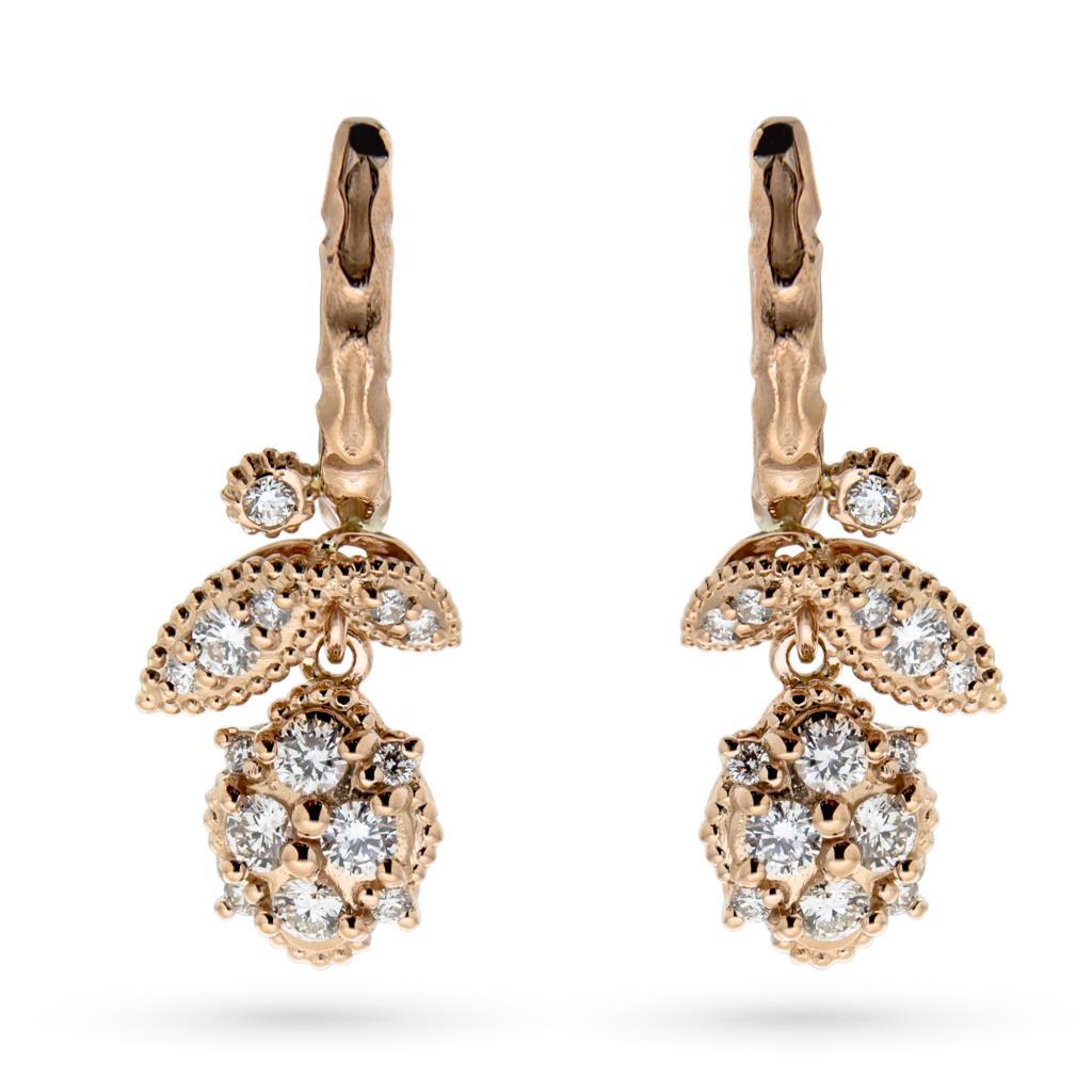 Orecchini con fiori di diamanti 0,90ct in oro rosa 18kt - ORO TREND