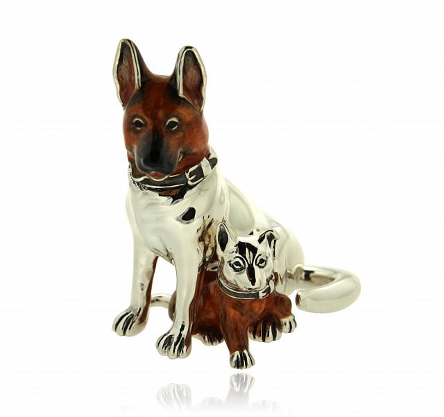 Pastore tedesco con cucciolo soprammobile in argento e smalto - SATURNO