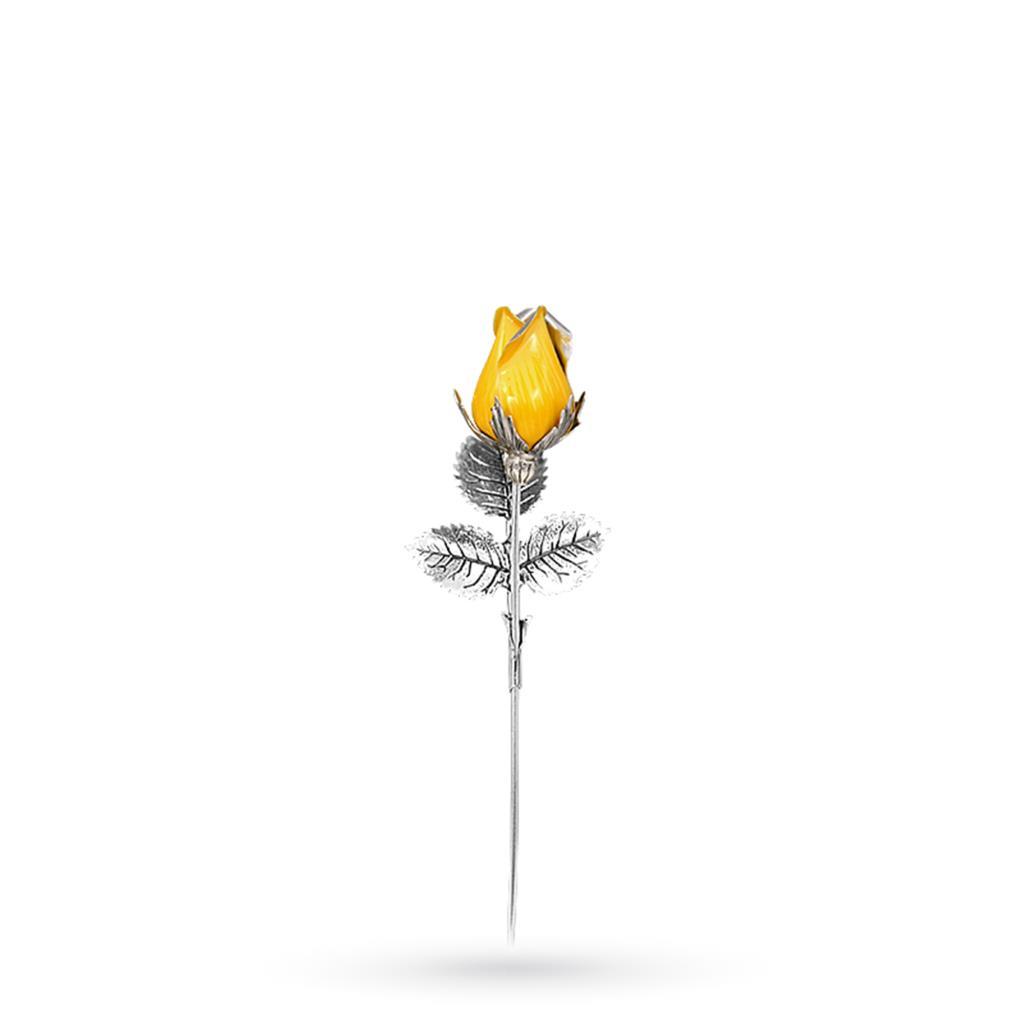 Bocciolo di rosa giallo soprammobile in argento e smalto 13cm - GI.RO'ART