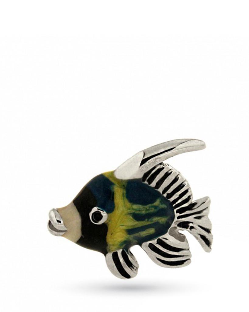 Pesce mini soprammobile in argento e smalto  - SATURNO