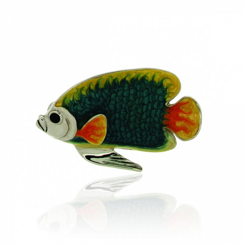 Pesce medio blu e giallo soprammobile in argento e smalto - SATURNO
