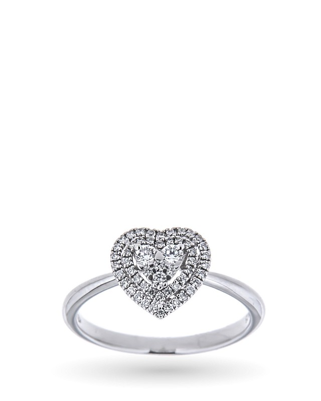 Anello a cuore in oro bianco con diamanti 0,24ct - MIRCO VISCONTI