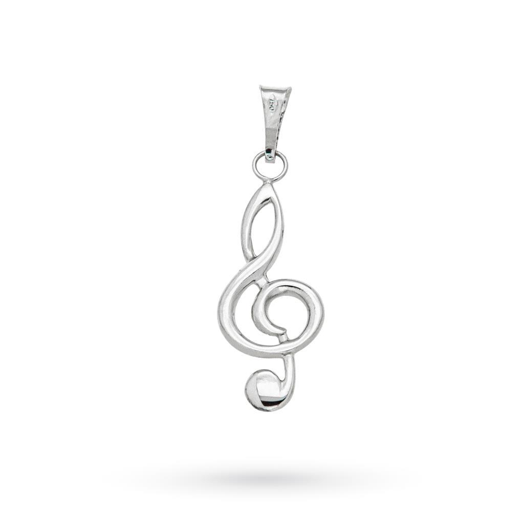 Ciondolo chiave di violino in oro bianco 18kt 3cm - CICALA