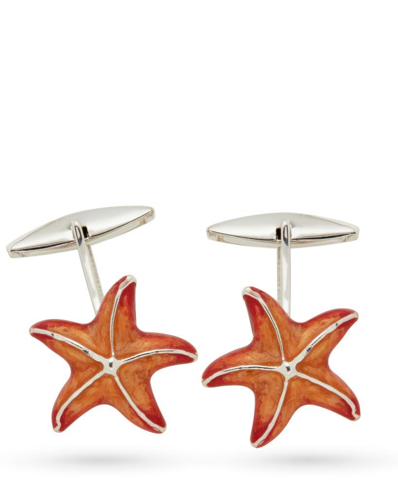 Gemelli in argento con stelle marine smaltate - SATURNO